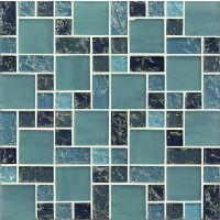 GLSMGICPG3 - Ice Crackle Glass Mosaic Mosaic - Blue