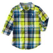 Gymboree Boy Long Sleeve Checked Plaid Shirt Lime
