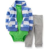 Carter's Striped Hoodie Bodysuit and Pants 3 Piece Set for Newborn