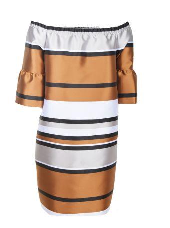 Blugirl Ruffled Sleeve Metallic Dress
