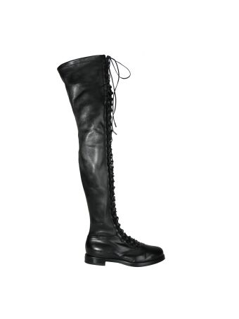 Le Silla Black Stretch Lace Up Over The Knee Boots