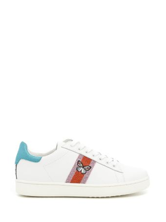 Moa Woman Leather Sneakers With Multicoloured Lurex Lateral Band