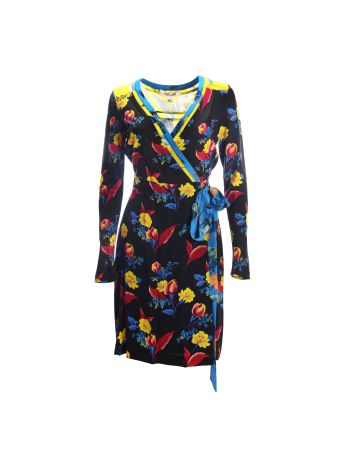 Diane Von Furstenberg Black Floral Multicolor Print Vest Dress