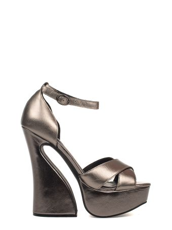 Gray Stefanya Leather Heeled Sandal