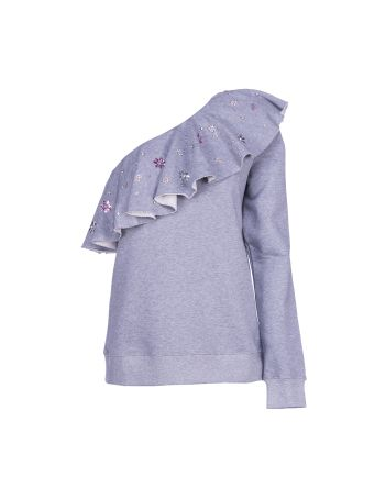 Msgm One Sleeve Ruffle Sweatshirt