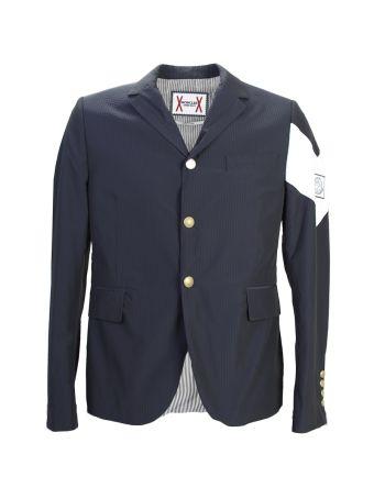 Striped Dark Blue Nylon Blazer