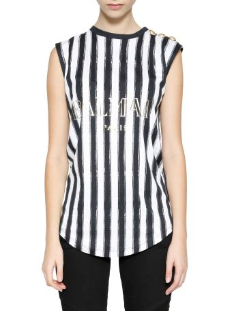 Balmain Striped Silkscreen Logo Tank Top