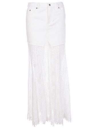 McQ Alexander McQueen Lace Hem Denim Skirt