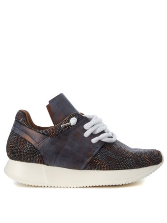Esseutesse Dark Brown Leather Sneaker And Micro Studs