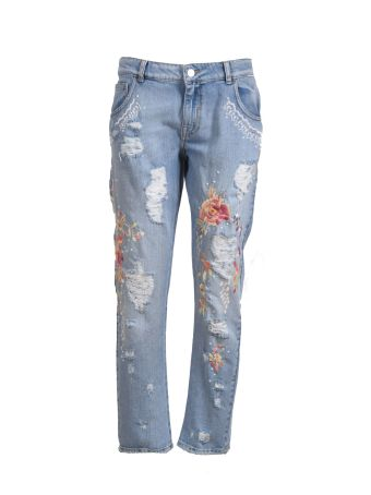 Amen Floral Embroidery Jeans