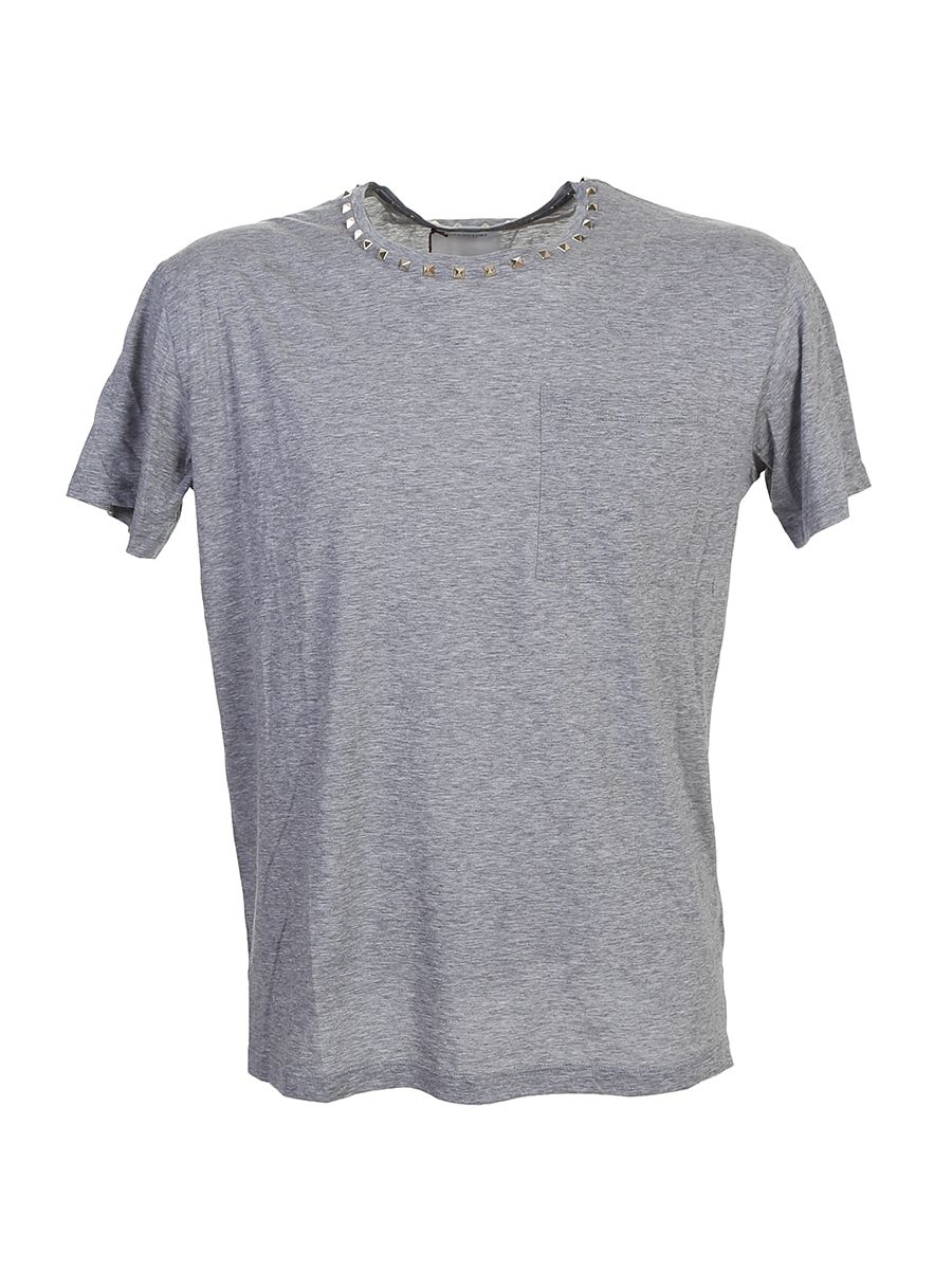 Grey Cotton T-shirt With Stud