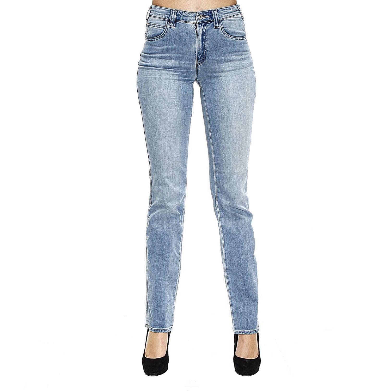 Jeans Jeans Denim Waist High Gamba Dritta Stretch
