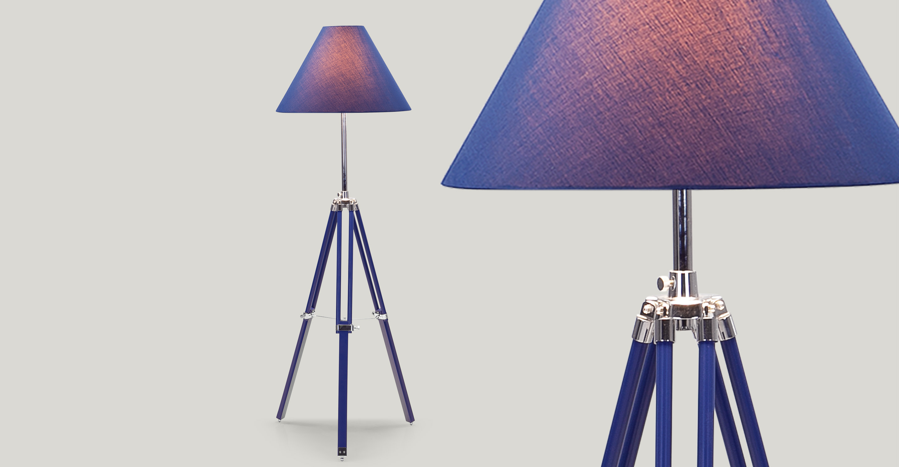 navy tripod floor lamp in nautical blue. Black Bedroom Furniture Sets. Home Design Ideas