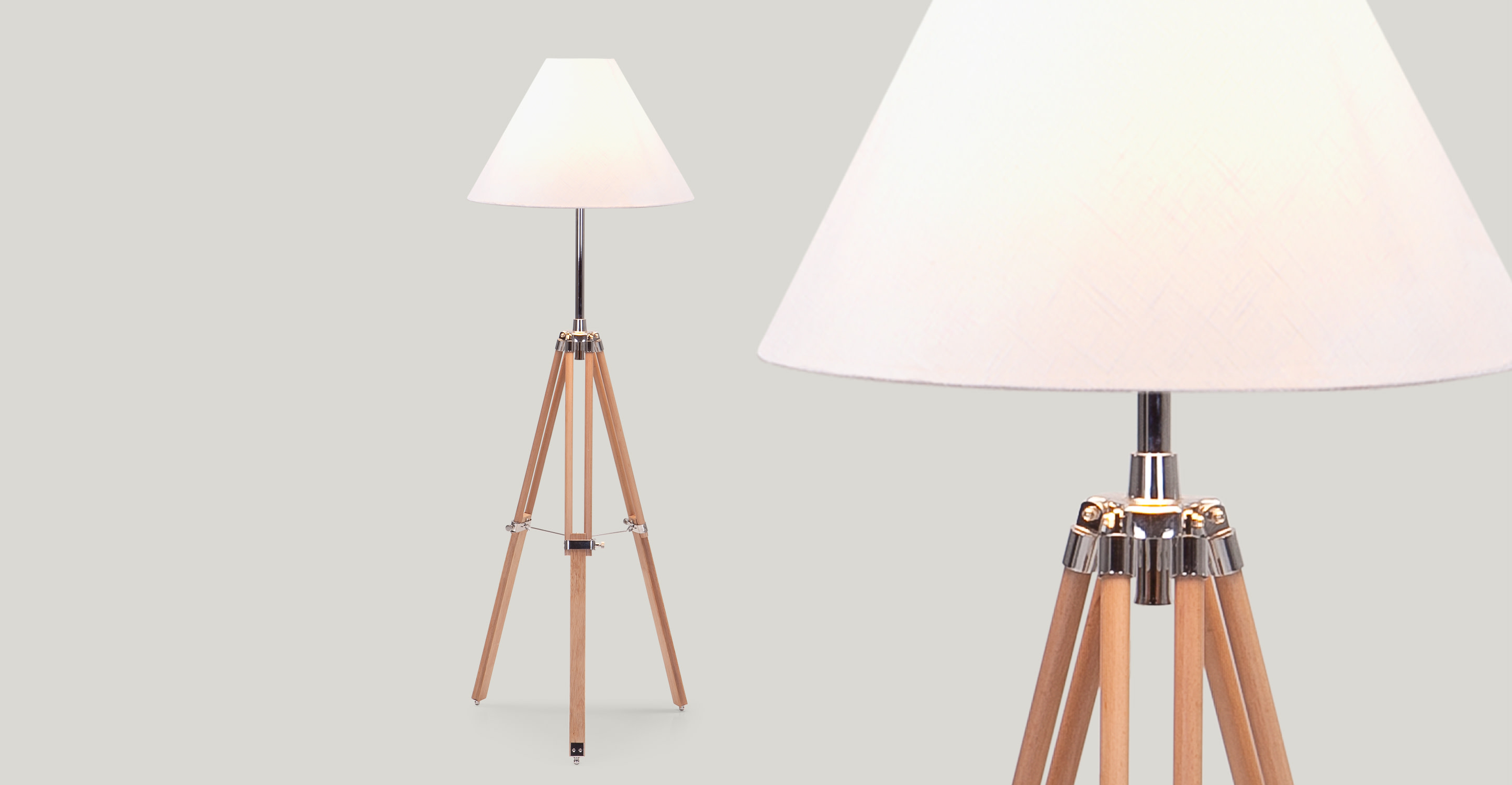 Navy Tripod Floor Lamp In Natural Wood Made Com