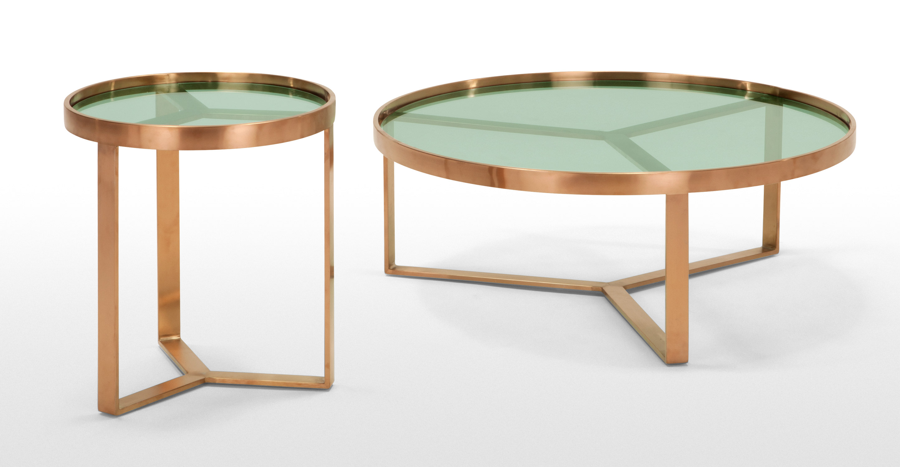 Aula Side Table Brushed Copper And Green Glass