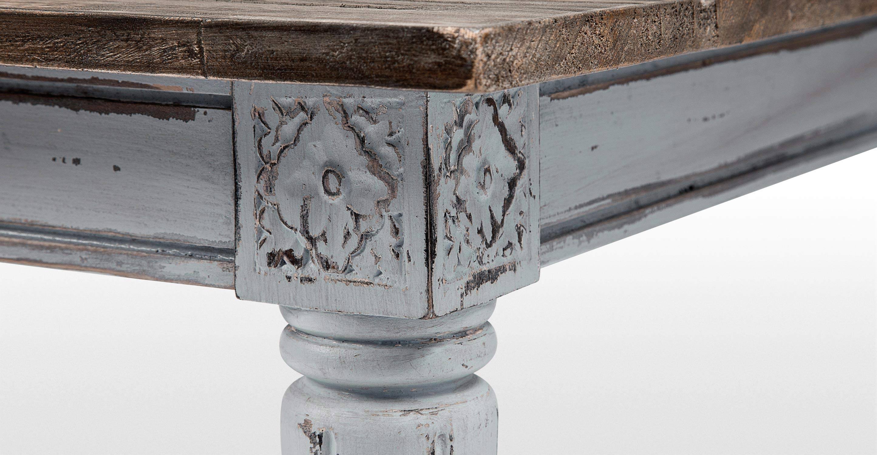 bourbon distressed grey vintage dining table
