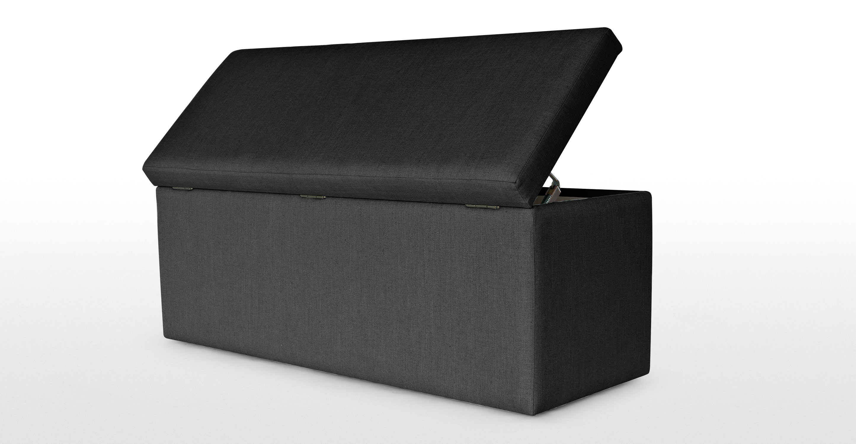 Capri upholstered storage bench in blacksmith grey Gray storage bench
