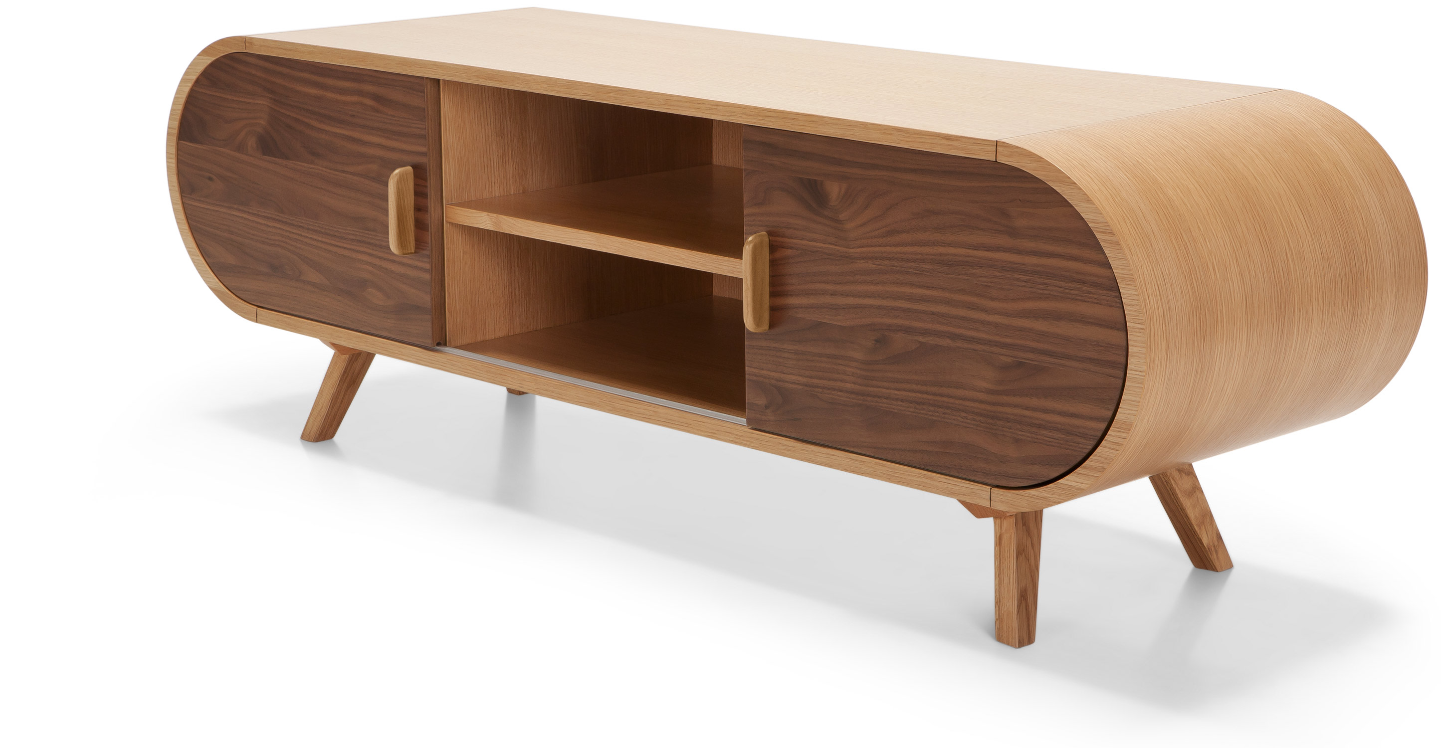 Fonteyn walnut and oak media unit for Meuble tv 2 m
