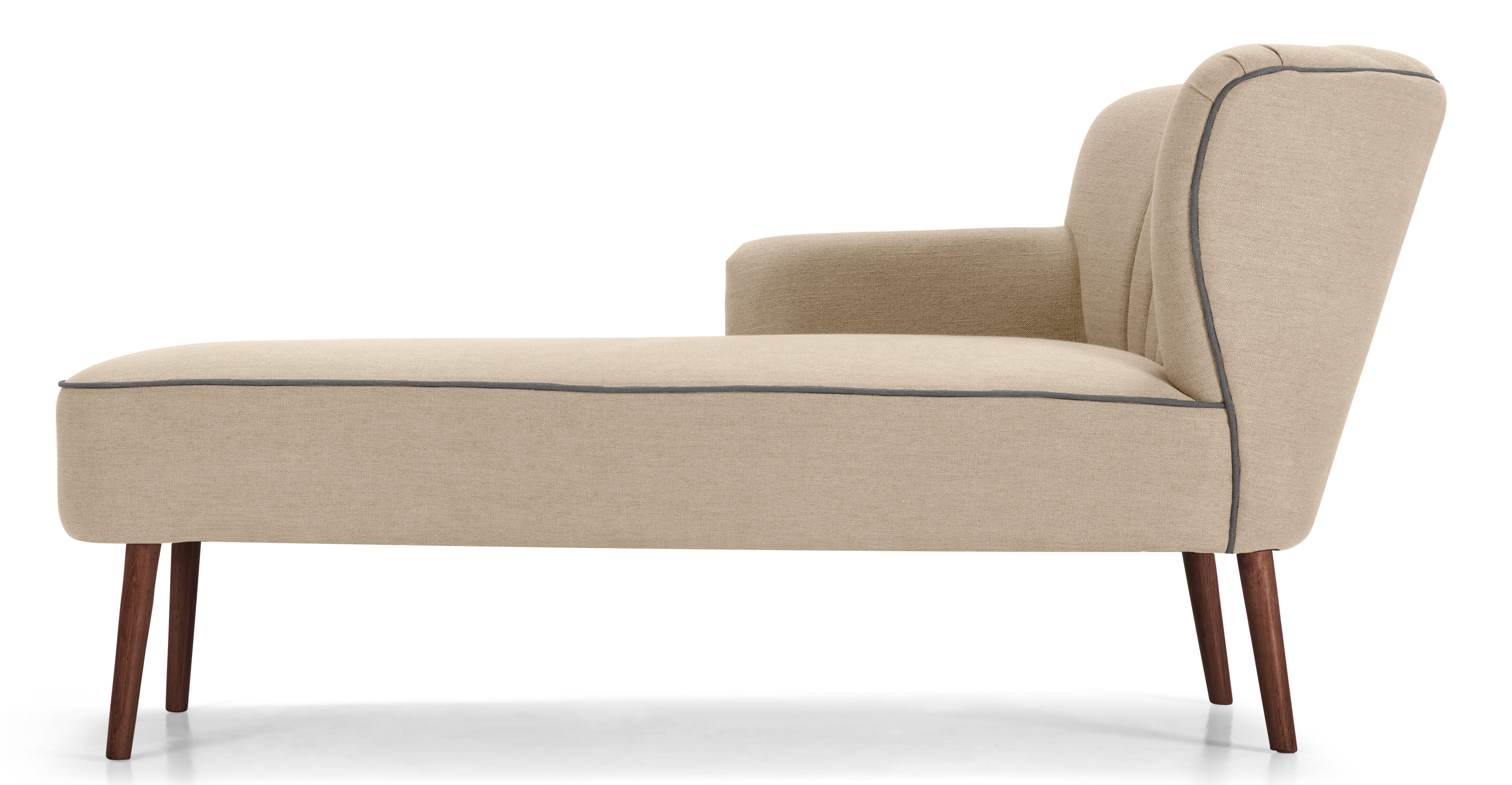 Jersey left hand facing chaise biscuit beige - Chaise tissu beige ...