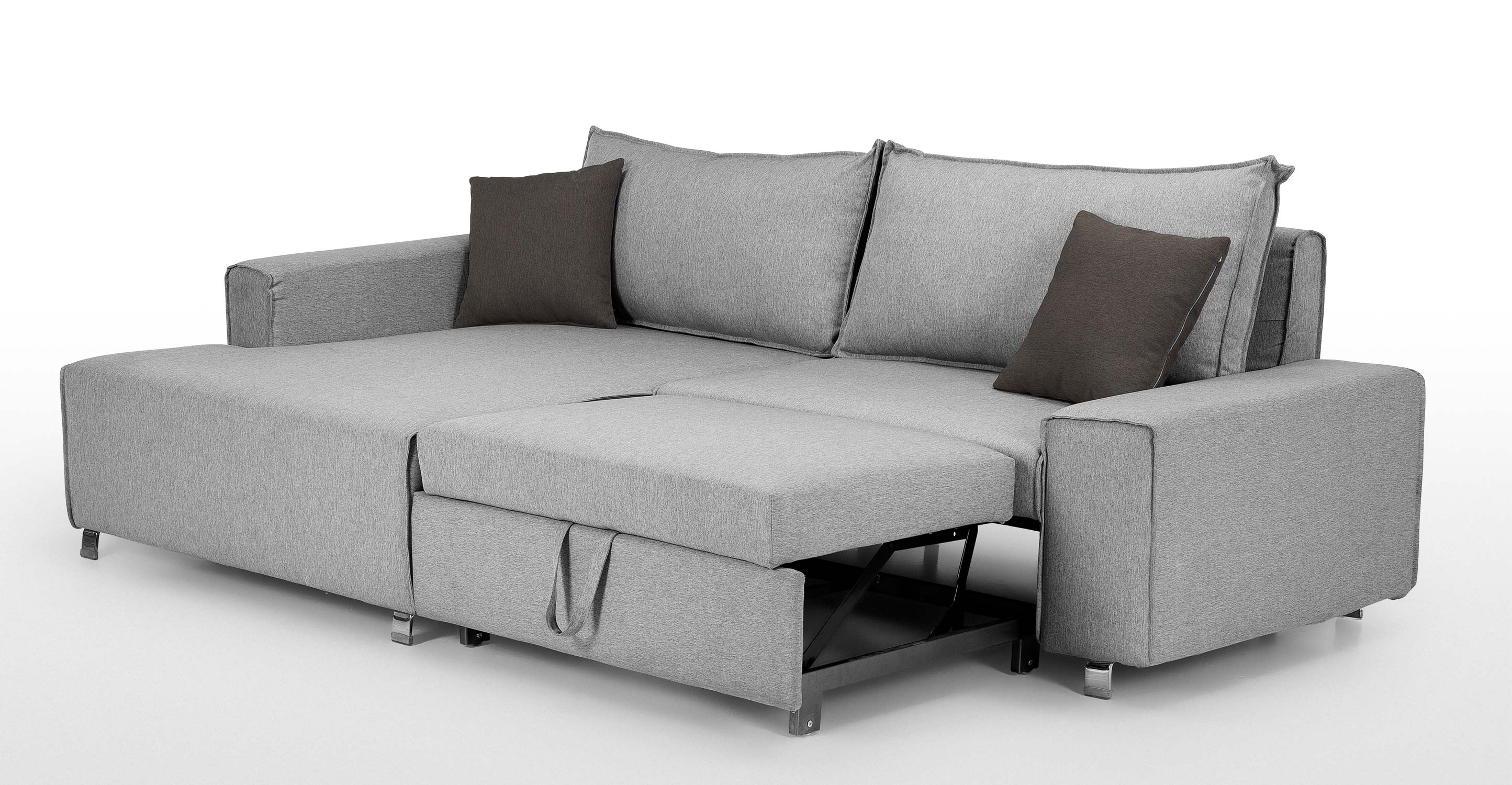 Mayne Left Hand Facing Corner Sofa Bed, Clear Grey Stone | madecom