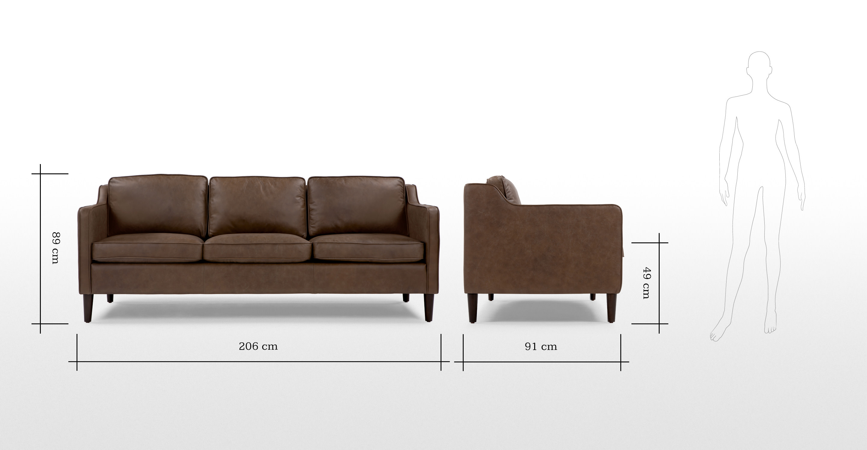 Walken 3 Seater Sofa In Saddle Tan Premium Leather