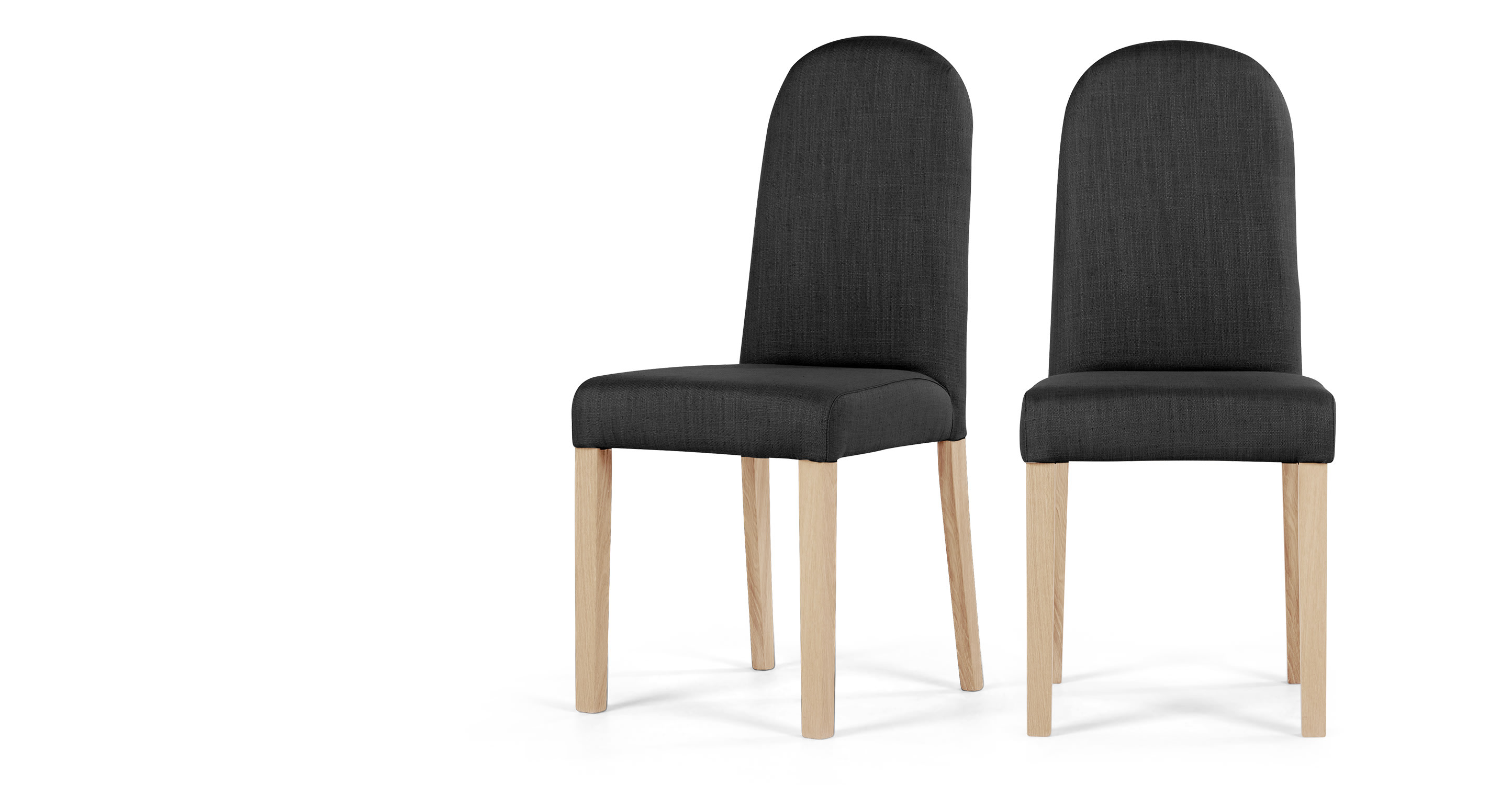 2 x Anouk Dining Chairs Dark Grey and Limed White Oak