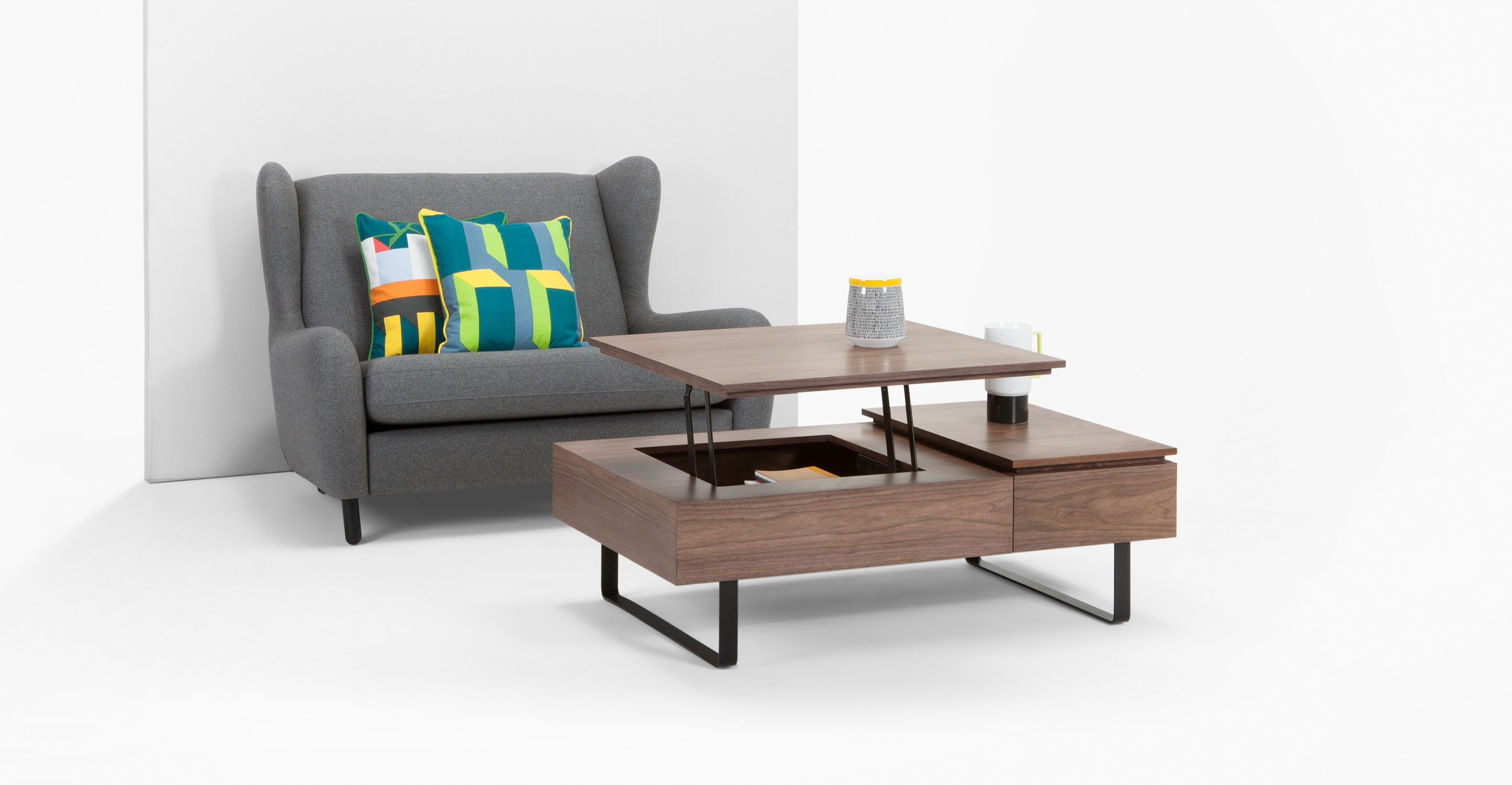 Flippa Functional Coffee Table with Storage Walnut
