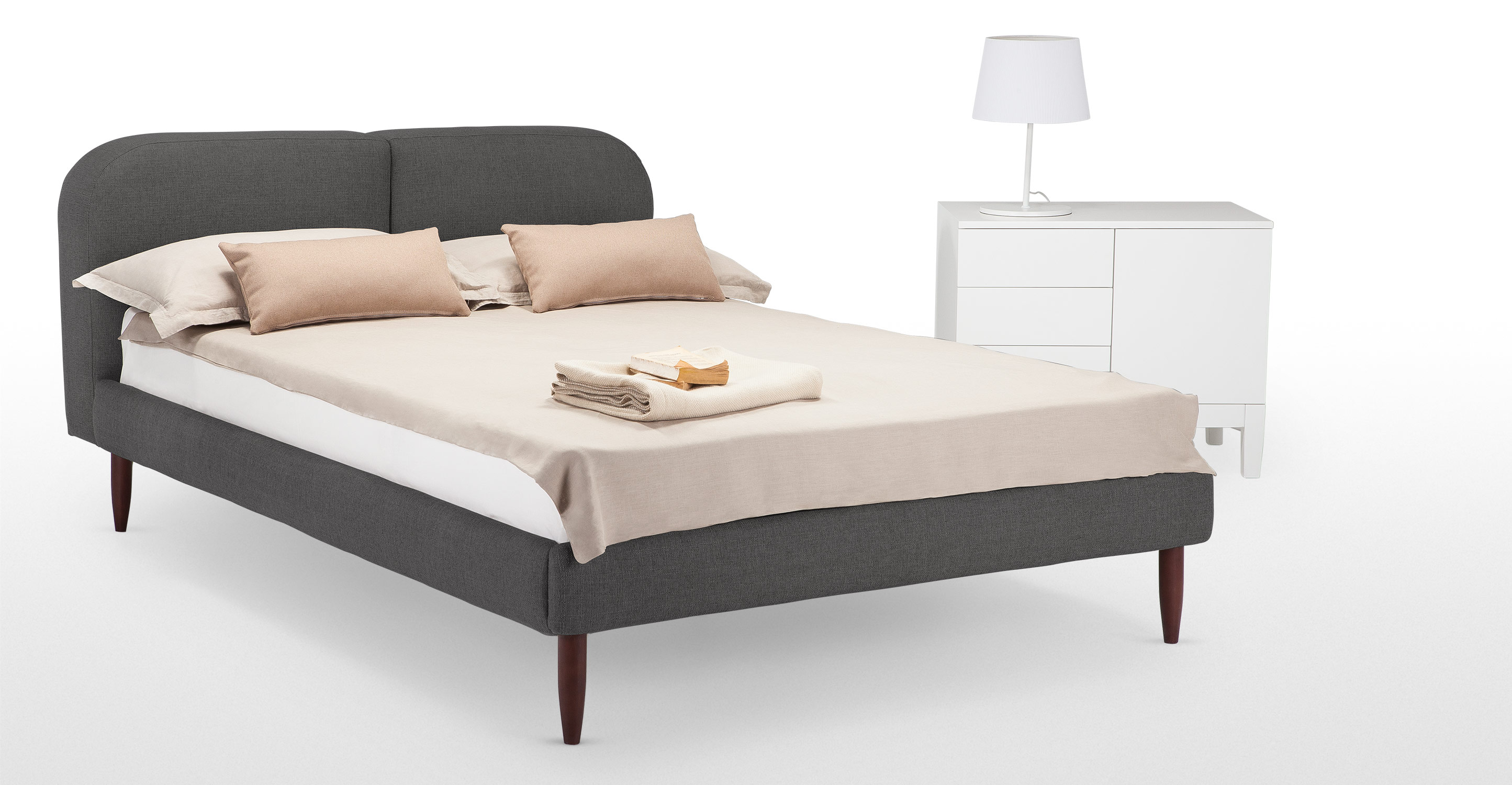 Hattan double size bed falcon grey for Lit double size