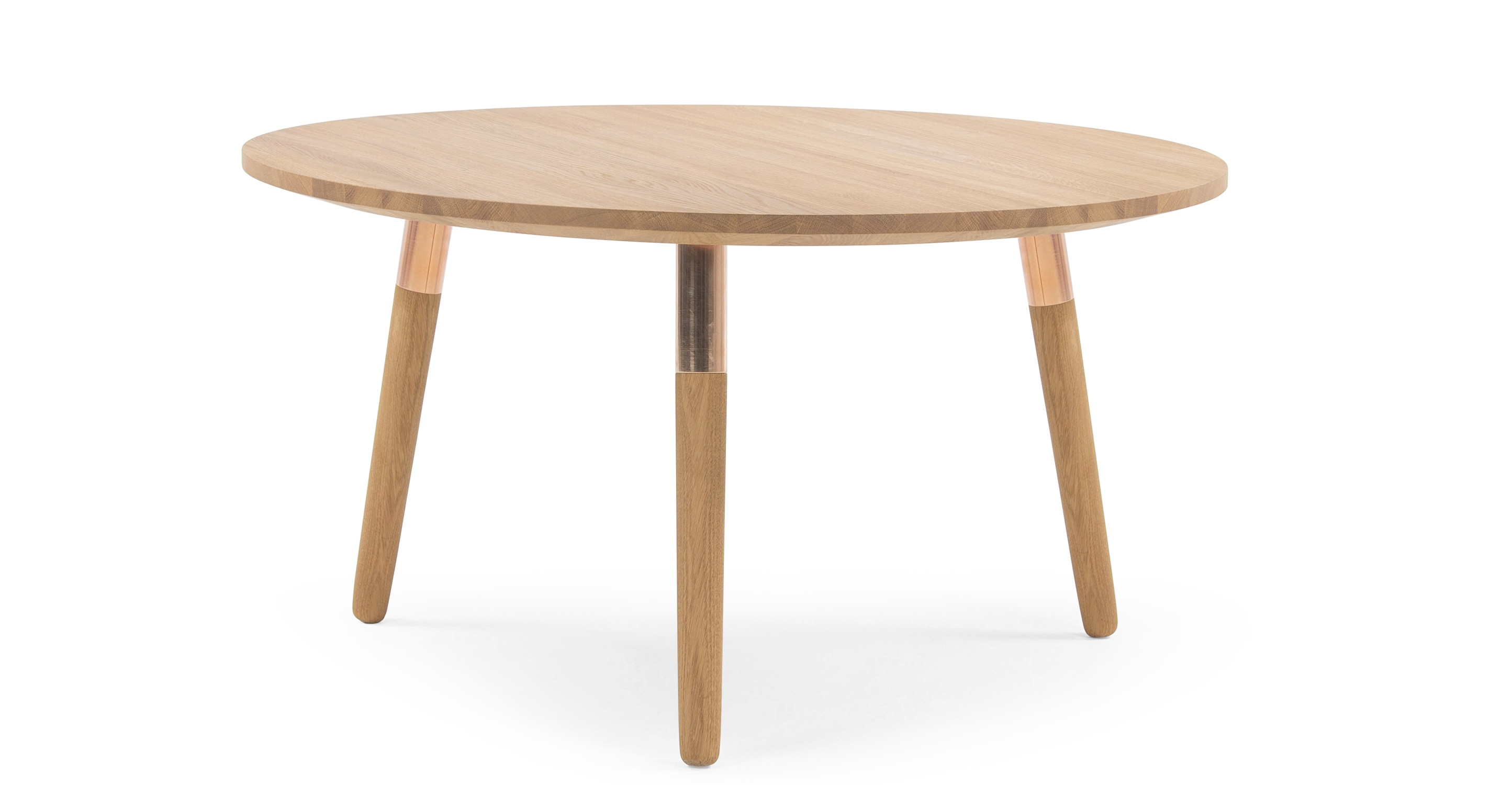 Range Round Coffee Table Solid Oak And Copper