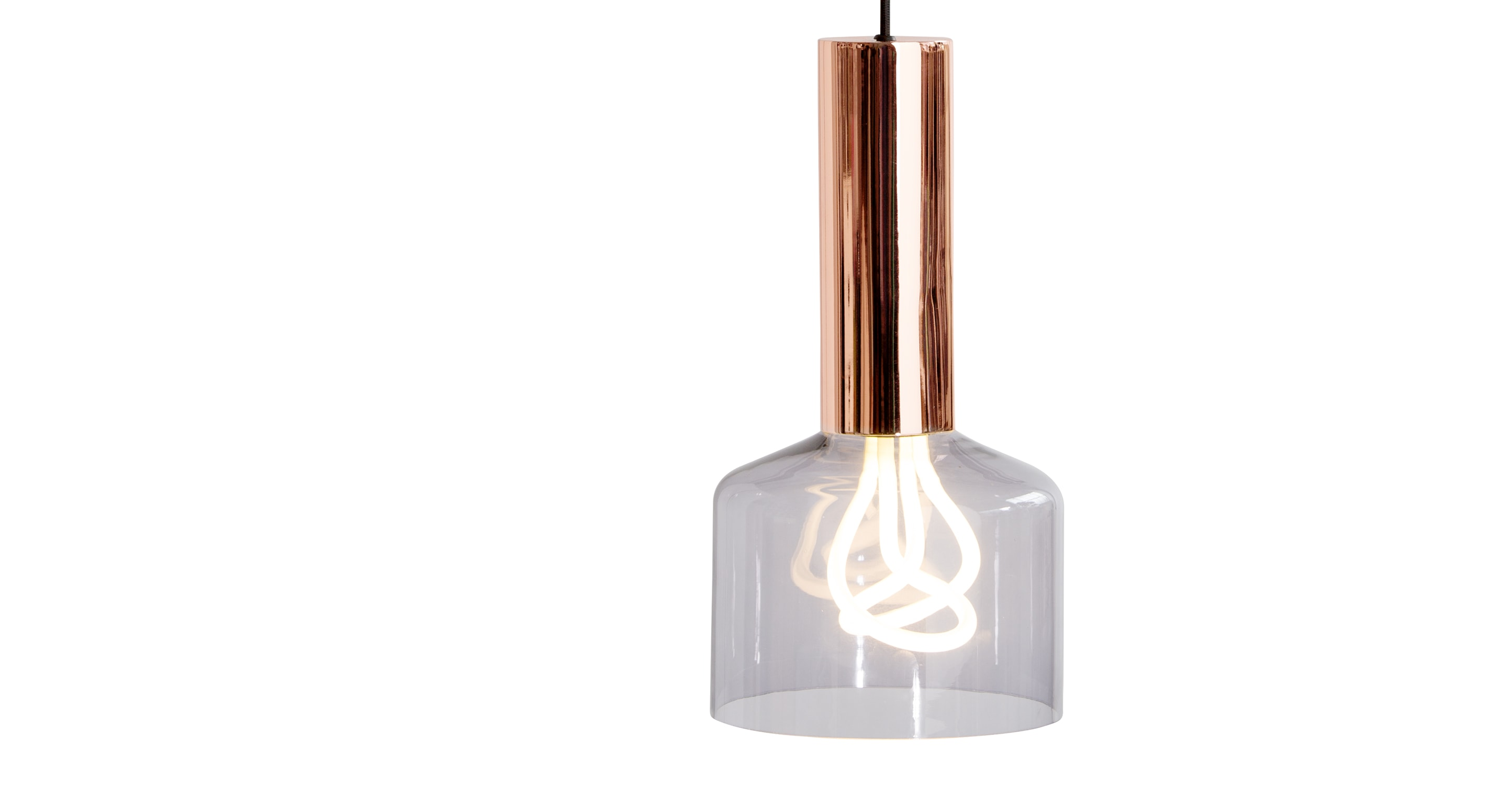 rehm pendant lamp and plumen 001 bulb smoke grey and copper. Black Bedroom Furniture Sets. Home Design Ideas