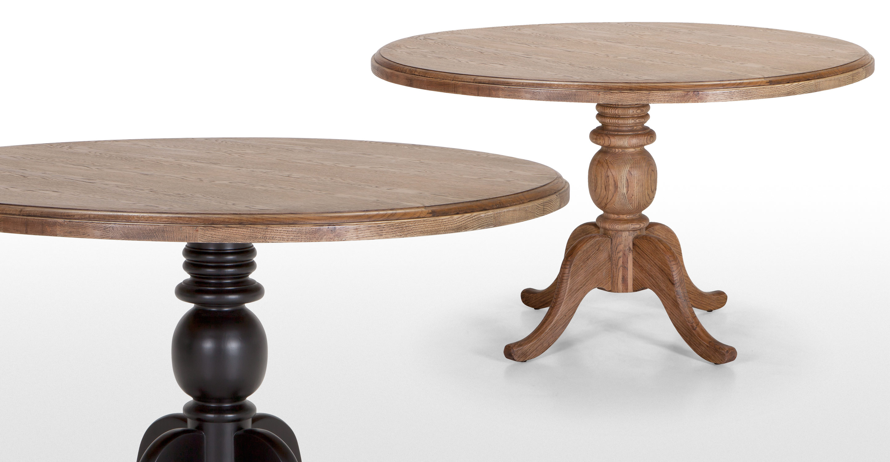 Rochelle round dining table in natural ash and black for Black round dining table