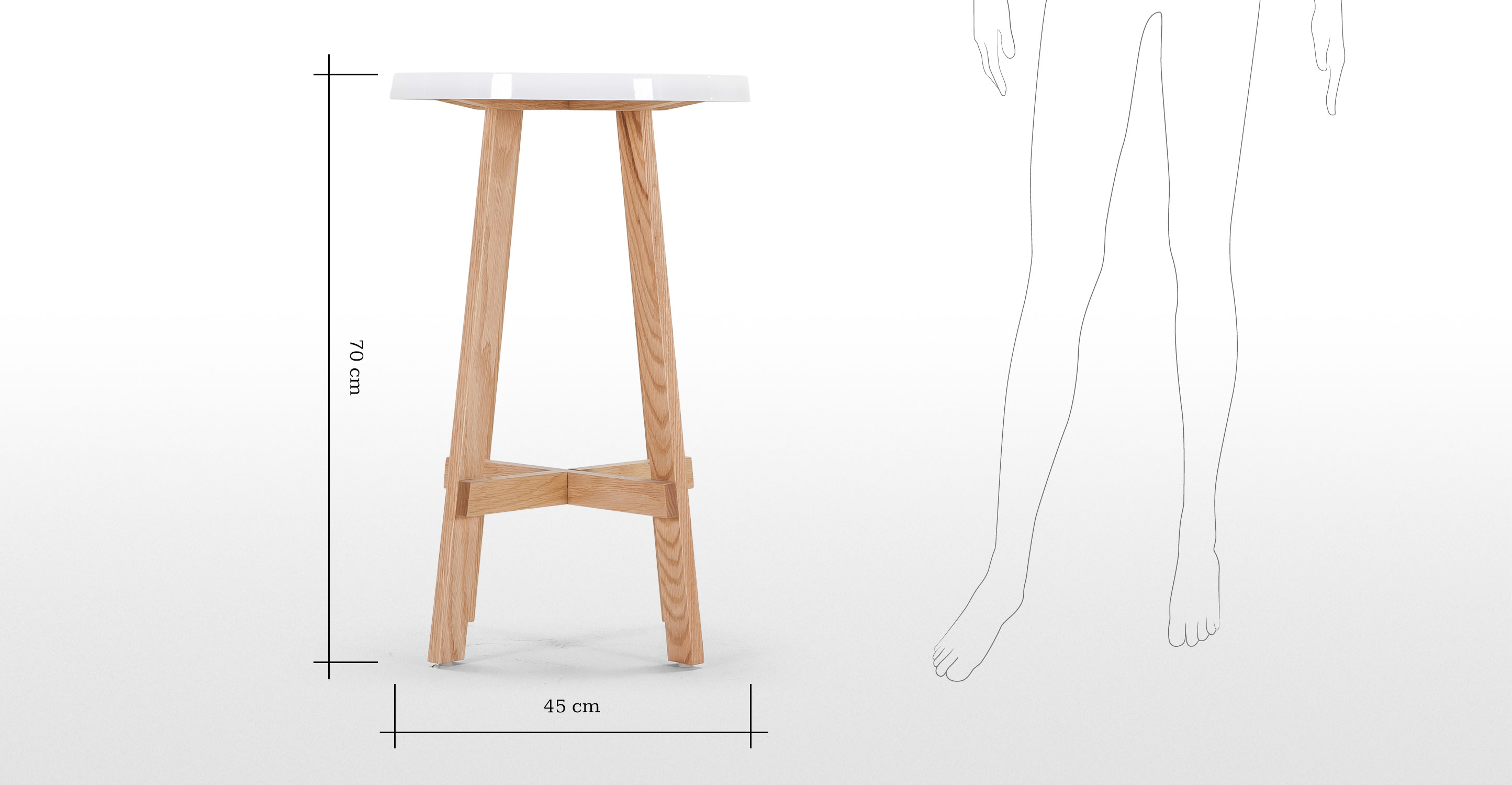 Spun tall side table in natural ash and white for Tall white end table