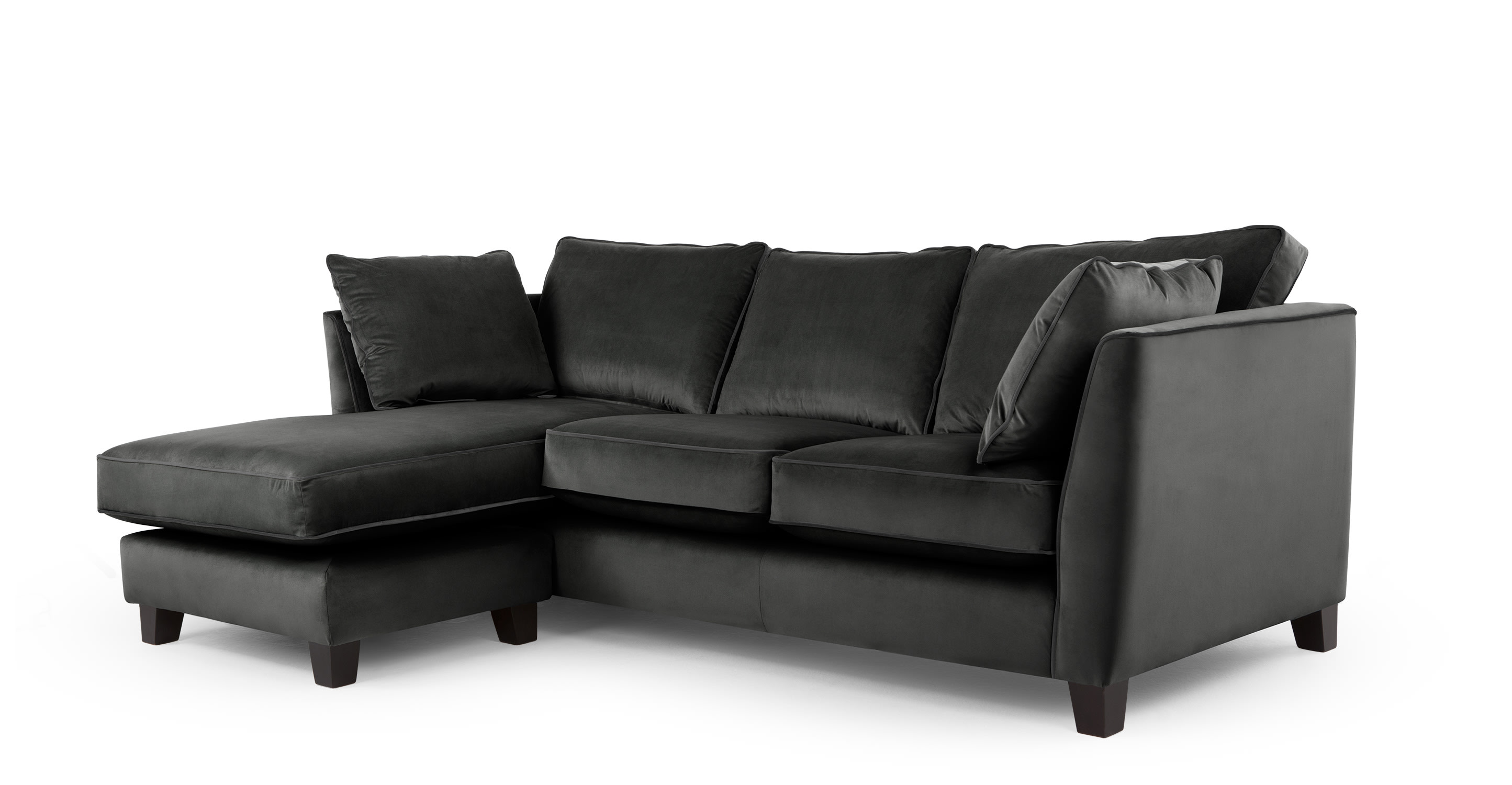 wolseley gro es ecksofa rauchgrauer samt. Black Bedroom Furniture Sets. Home Design Ideas
