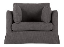 Antibes Loose Cover Love Seat, Nickel