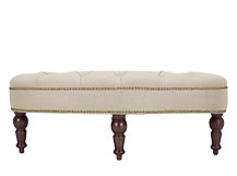 Bouji Oval Ottoman, Biscuit Beige and Vintage Brown