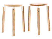 2 x Dorso Stacking Stool, Ash and White
