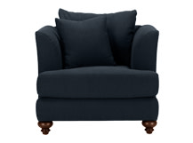 Elliott Armchair, Deep Blue Cotton Mix