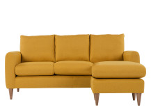 Gaia 3 Seater Chaise End Sofa, Mustard