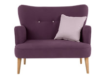 Gigi Love Seat with Scatters, Aubergine