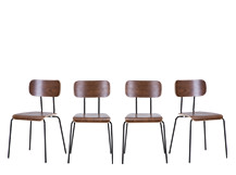 4 x Haywood Dining Chairs, Walnut and Black