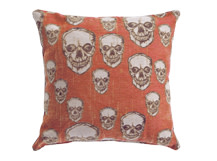 Hendrix Large Skull Pattern Scatter Cushion 50 x 50cm, Orange