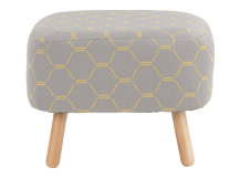 Jonah Footstool, Grey and Yellow Hexagonal Weave