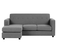 Joshua 3 Seater Chaise End Sofa, Steel