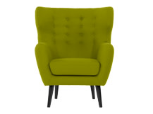 Kubrick Wing Back Chair, Fern Green Wool Mix