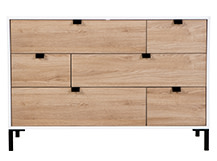 Latymer Multi Chest of Drawers, Oak Effect and White Gloss