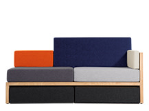 Lovebird Right Hand Facing Sofa with storage, Kvadrat Multicolour