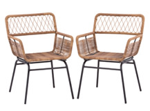 Lyra Outdoor Dining Chair Set, Charcoal grey