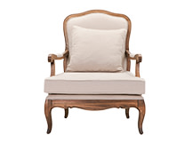Marie Armchair, Natural Ash and Nougat Beige Cotton