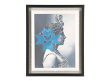 Siren Mata Hari Gilt Print, 30 x 40cm, Limited Edition by Coup D'Esprit, Silver and Blue