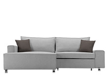 Mayne Left Hand Facing Corner Sofa Bed, Clear Grey Stone